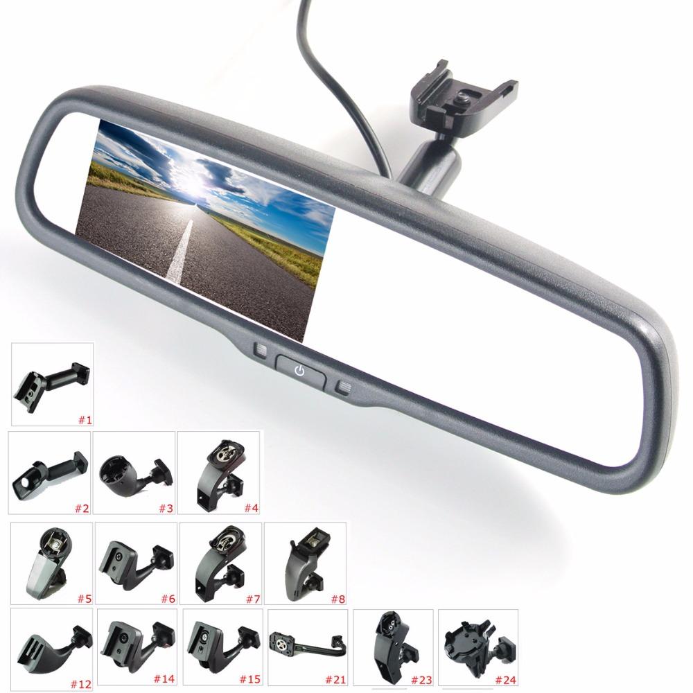 """Prix pour 4.3 """"TFT LCD rétroviseur moniteur de voiture d'entrée vidéo 2Ch avec un spécial support de montage"""