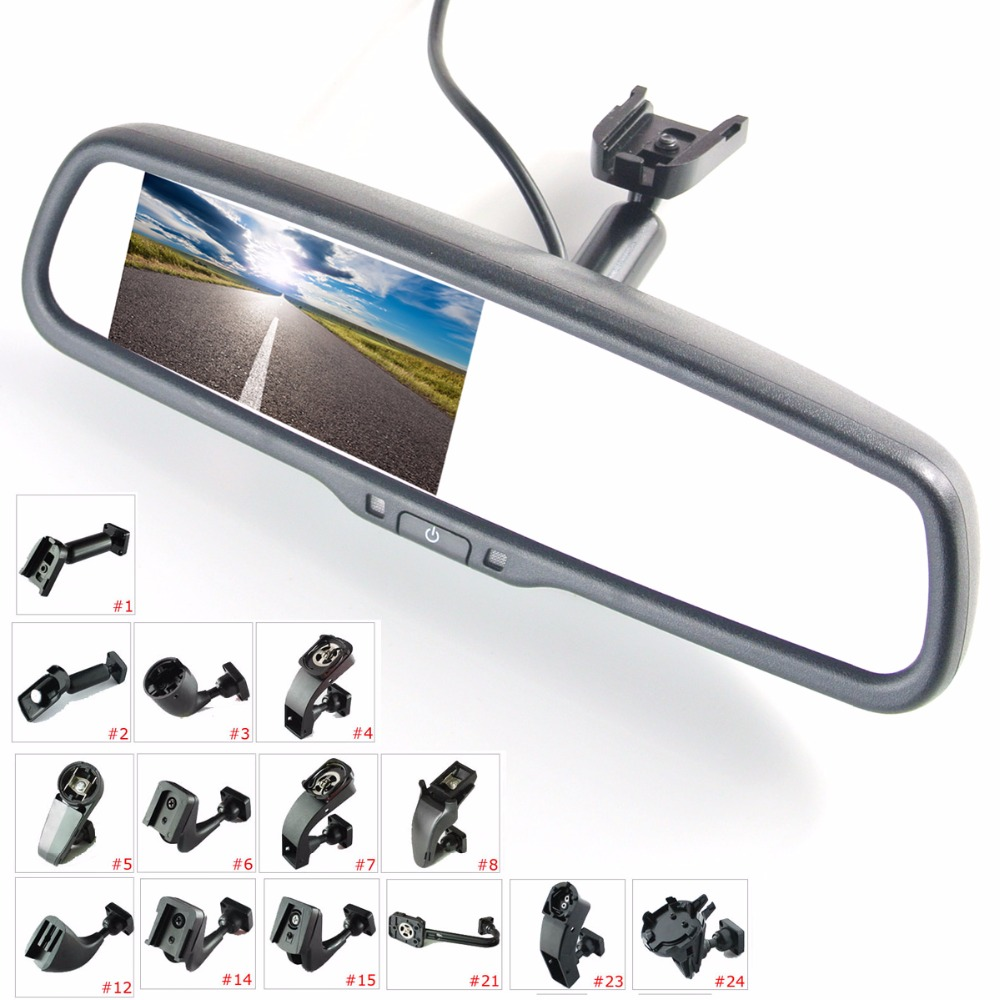 "4.3"" TFT LCD rear view mirror car monitor video input 2Ch with a special mounting bracket"