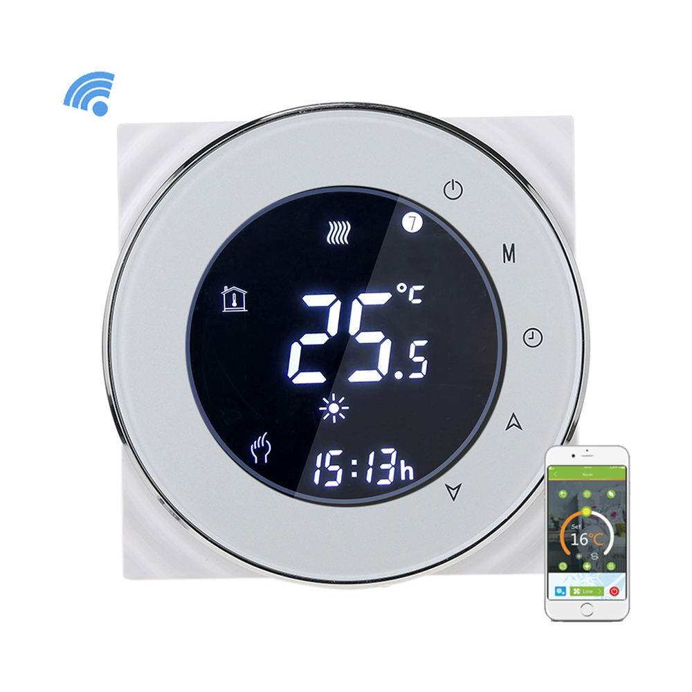 WiFi Thermostat Control Negative LCD Touchscreen Programing Thermostat Boiler Heating Temperature Controller NTC Sensor 3A