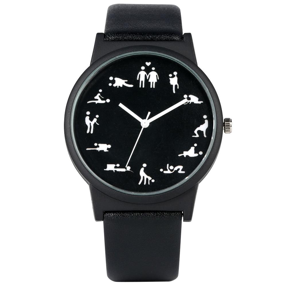 Creative Fun Quartz Watch For Men Black Dial Quartz Watches Comfortable Black Leather Strap Wristwatch For Male