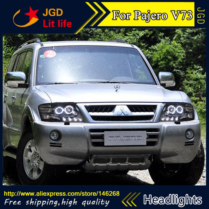 Free shipping ! Car styling LED HID Rio LED headlights Head Lamp case for Mitsubishi Pajero V73 Bi-Xenon Lens low beam