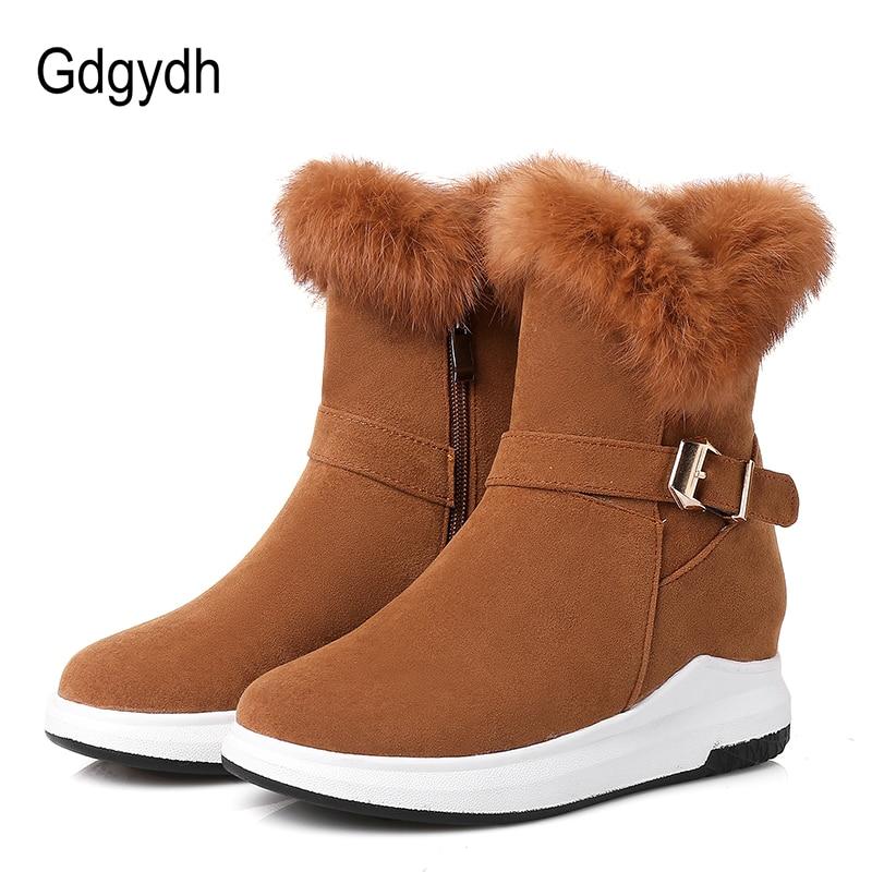 Gdgydh appartements chaussures d'hiver bottines pour femmes 100% vraie fourrure chaude coton dames chaussures 2018 nouveauté talon plat bottes de neige Zip-in Bottes de neige from Chaussures    1