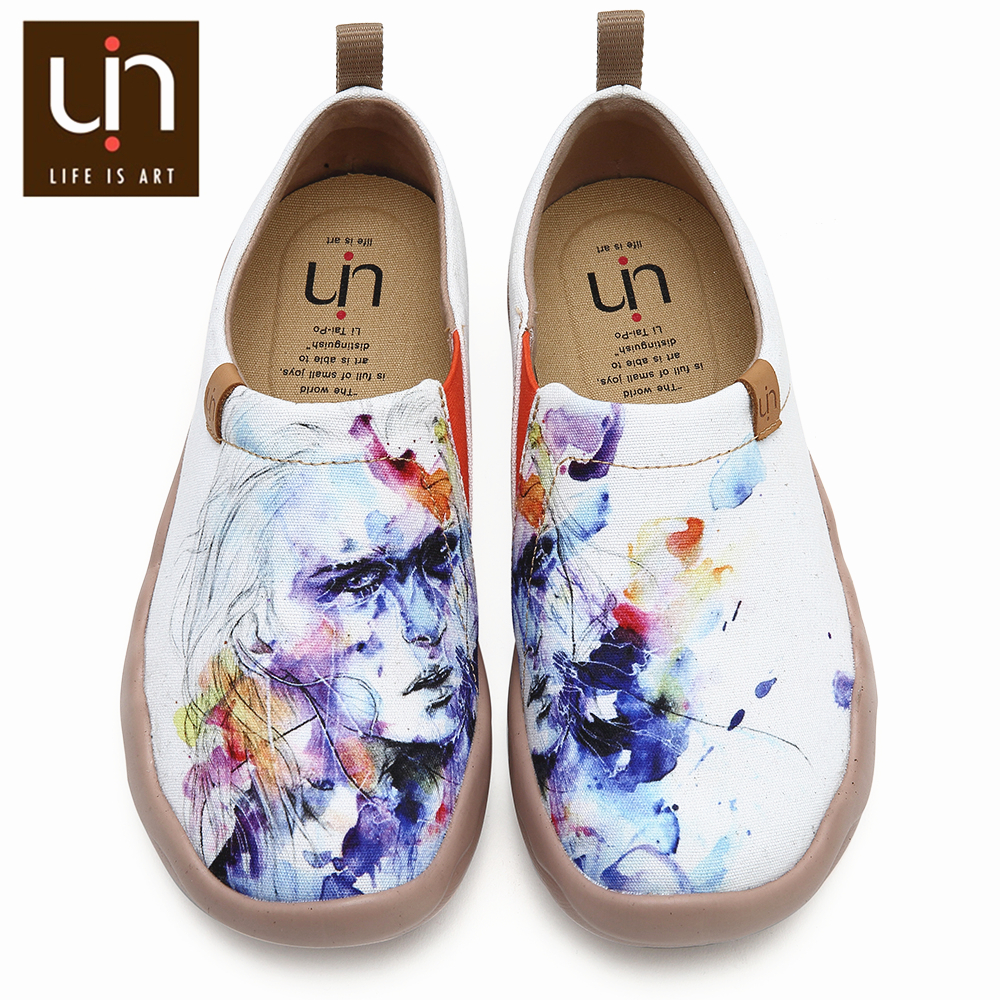 UIN Fairy Design Hand-painted Art Shoes Women Fashion Loafers Wide Feet Ladies Casual Shoes Super Lightweight Comfort Sneakers