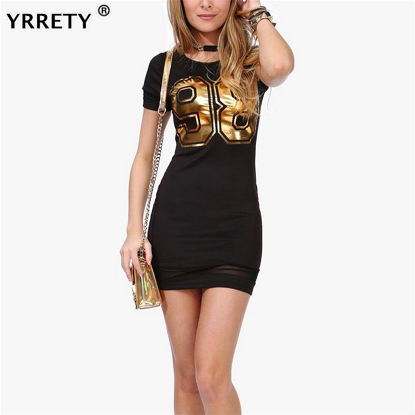 YRRETY <font><b>Sexy</b></font> Women Summer <font><b>Dress</b></font> Bodycon Evening Party <font><b>Club</b></font> Short Mini O-neck Short Sleeved <font><b>Dress</b></font> 2019 Fashion Women Clothes <font><b>5XL</b></font> image