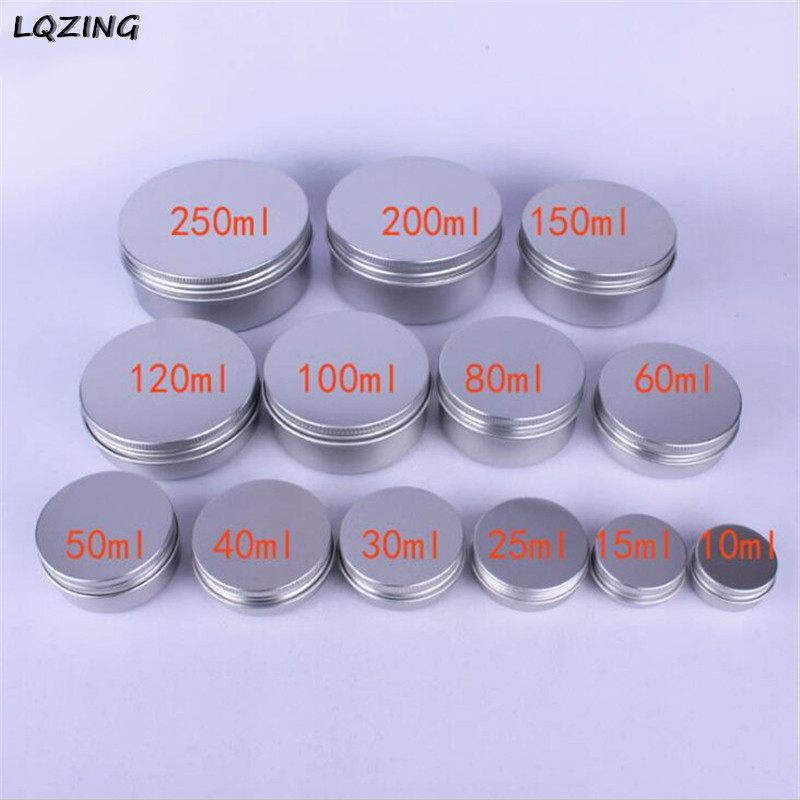 10g/15g/25g/30g/50g/60g Metal Aluminum Round Tin Cans Box Silver Cosmetic Cream Jar Pot Case Screw Thread Lid Lip Balm <font><b>Container</b></font> image