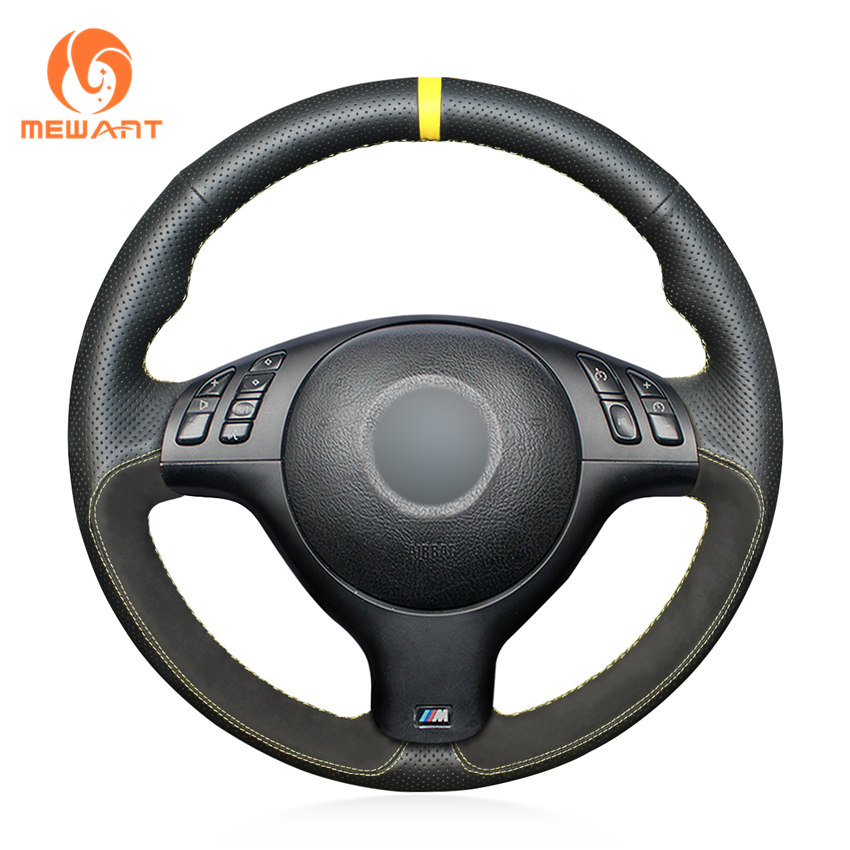 MEWANT Black Genuine Leather Suede Hand Sew Car Steering Wheel Cover for BMW E46 E39 330i