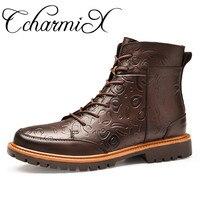 CcharmiX Genuine Leather Men S Winter Boots Big Size Handmade Warm Men Snow Boots High Top