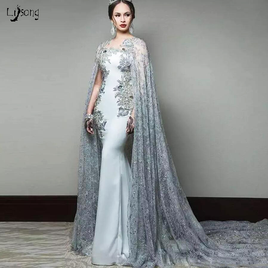 Simple Wedding Dresses Lebanon: Blue Gray Cloak Sleeves Evening Party Maxi Gowns Women