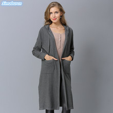 New Arrivals Autumn Winter Women Cardigans Sweaters With Cap Long Loose Knitting Open Stitch Black Gray Dress Plus Size