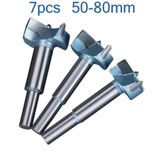 цена на 7pcs 50mm-80mm Forstner Drill Bits Tips Sets Woodworking Tools Hole Saw Cutter Hinge Boring Round Shank Tungsten Carbide Cutter