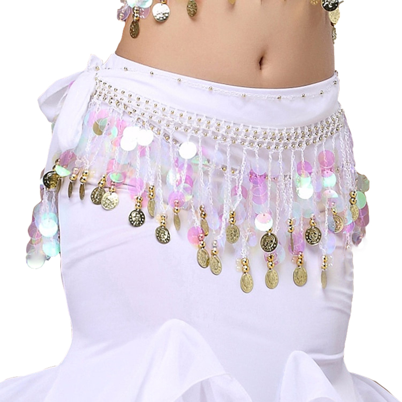 12 Colors Cheap Dancewear Women Bellydance Clothing Hip Scarf Adjustable Fit 56 Gold Coins Belly Dance Wrapped Belts