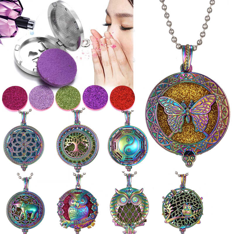2019 New Colorful Aromatherapy Necklace Vintage Silver Flower Butterfly Essential Oil Diffuser Necklace Perfume Lockets Pendants