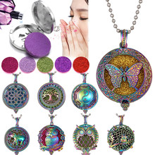 2019 New Colorful Aromatherapy Necklace Vintage Silver Flower Butterfly Essential Oil Diffuser Necklace Perfume Lockets Pendants(China)