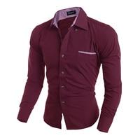 Для мужчин рубашка Мода 2016 года бренд Для мужчин в полоску нагрудный карман мужской рубашку с длинными рукавами Camisa masculina Повседневное тонк...