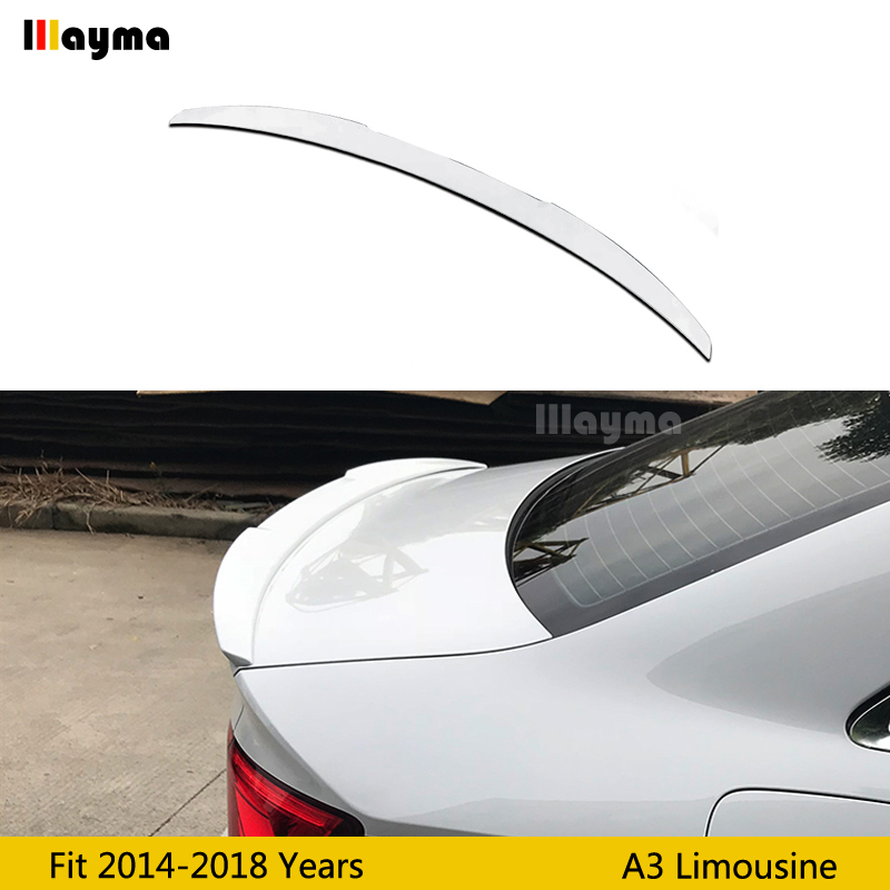 V Style ABS rear trunk spoiler For Audi A3 8V limousine Sline S3 2014-2018 year gloss white color Car rear wing spoilerV Style ABS rear trunk spoiler For Audi A3 8V limousine Sline S3 2014-2018 year gloss white color Car rear wing spoiler