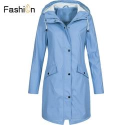 Plus rozmiar 5XL damska solidna kurtka przeciwdeszczowa z kapturem na zewnątrz wodoodporny długi płaszcz kobiety płaszcze przeciwdeszczowe długie piesze wycieczki kurtki z kapturem 2019 4