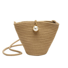 Women's Casual Woven Solid Color Bucket Bag Shoulder Messenger Bag Mini Coin Purse Pu Zipper Bolsas Sac Femme 2019 Nouveau