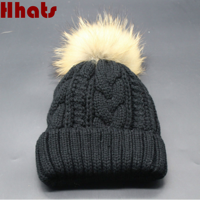 Which in shower natural real fur pom pom thick warm fleece lining winter hat for women fur ball knitted cable female cap beanies real cable ott60 1m20