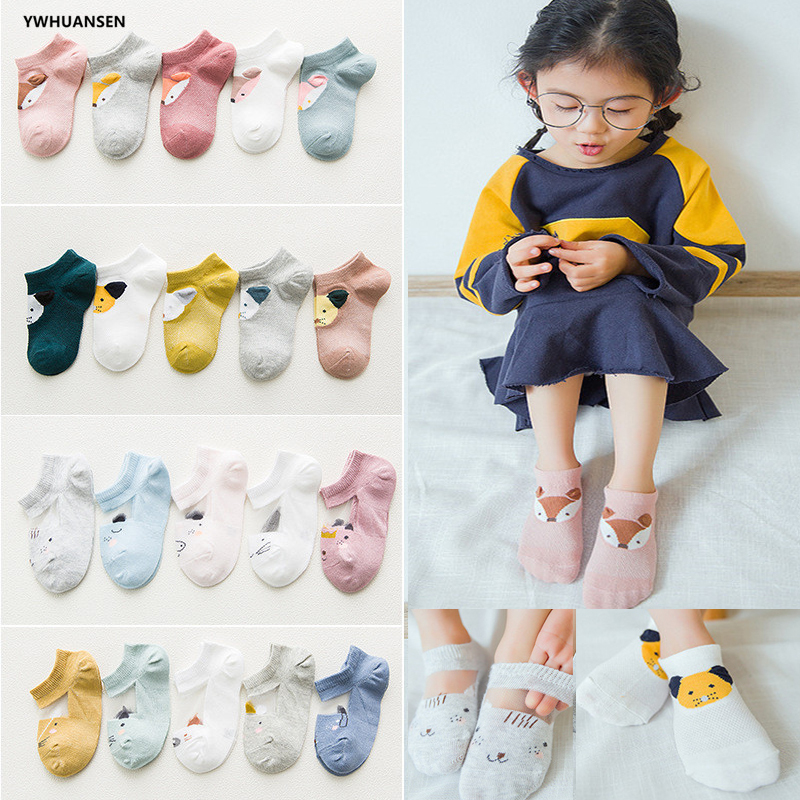 5 Pairs/lot 1 to 7 Yrs Spring Summer Thin Girls Sock Kids Cotton Mesh Boat Sock Lovely Animal Breathable Toddler Boys Ankle Sock(China)