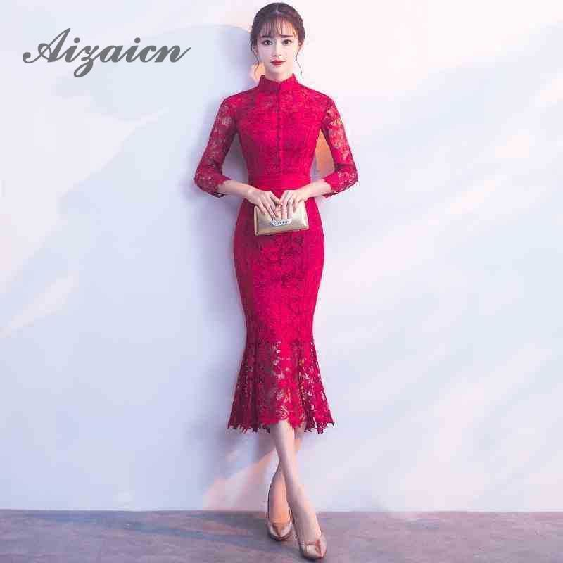 Bride Traditions 2018 Fashion <font><b>Chinese</b></font> <font><b>Dress</b></font> <font><b>Sexy</b></font> Cheongsam Traditional Evening Gown Red Mermaid Wedding Qipao <font><b>Dresses</b></font> Casual image