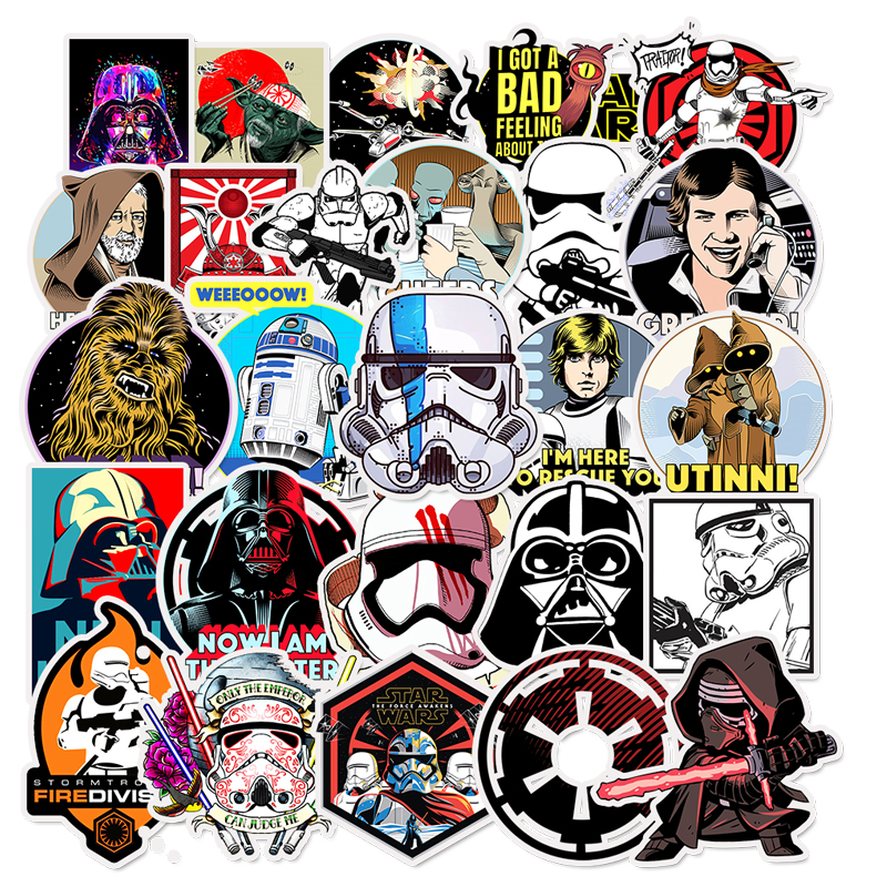 50Pcs Star Wars Stickers For Kids DIY Creative Graffiti Sticker For Skateboard Laptop Luggage Guitar Fridge Car Doodle Decal