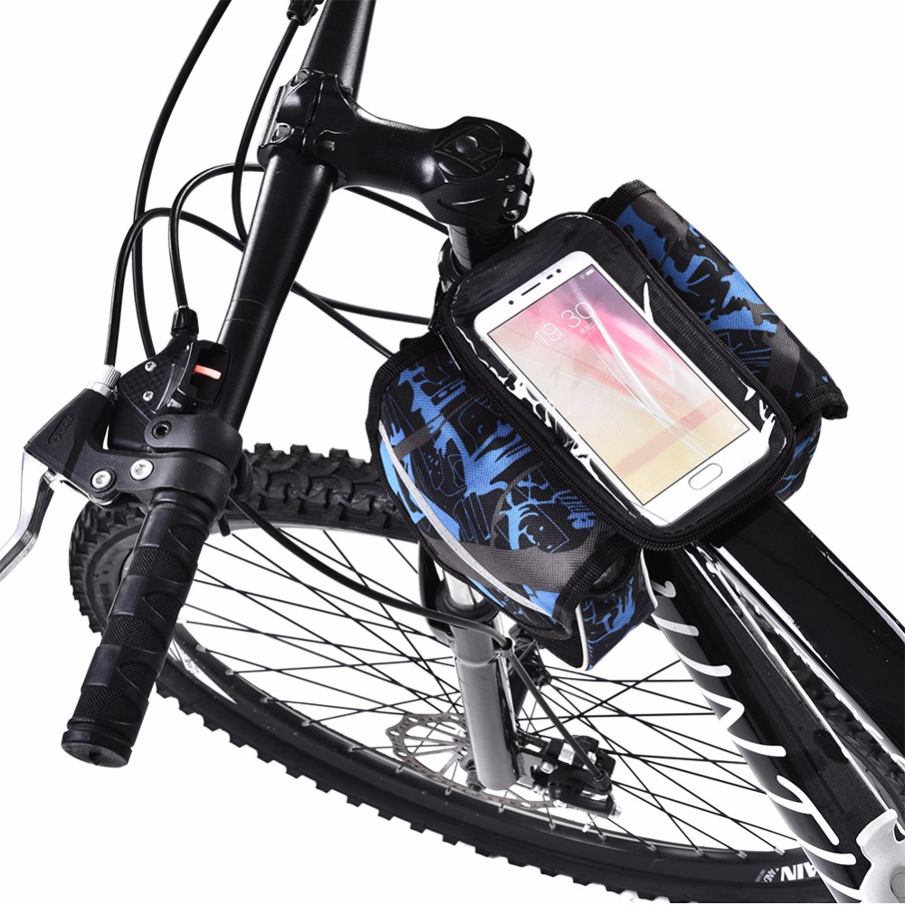Road Bike Bag Rainproof Touch Screen Cycling Bicycle Bag Reflective Frame Top Tube Phone Bag 4.8/5.7 Phone Bag Bike Accessory bicycle touch screen tube bag bike cycling touch screen mobile phone bag pannier bag