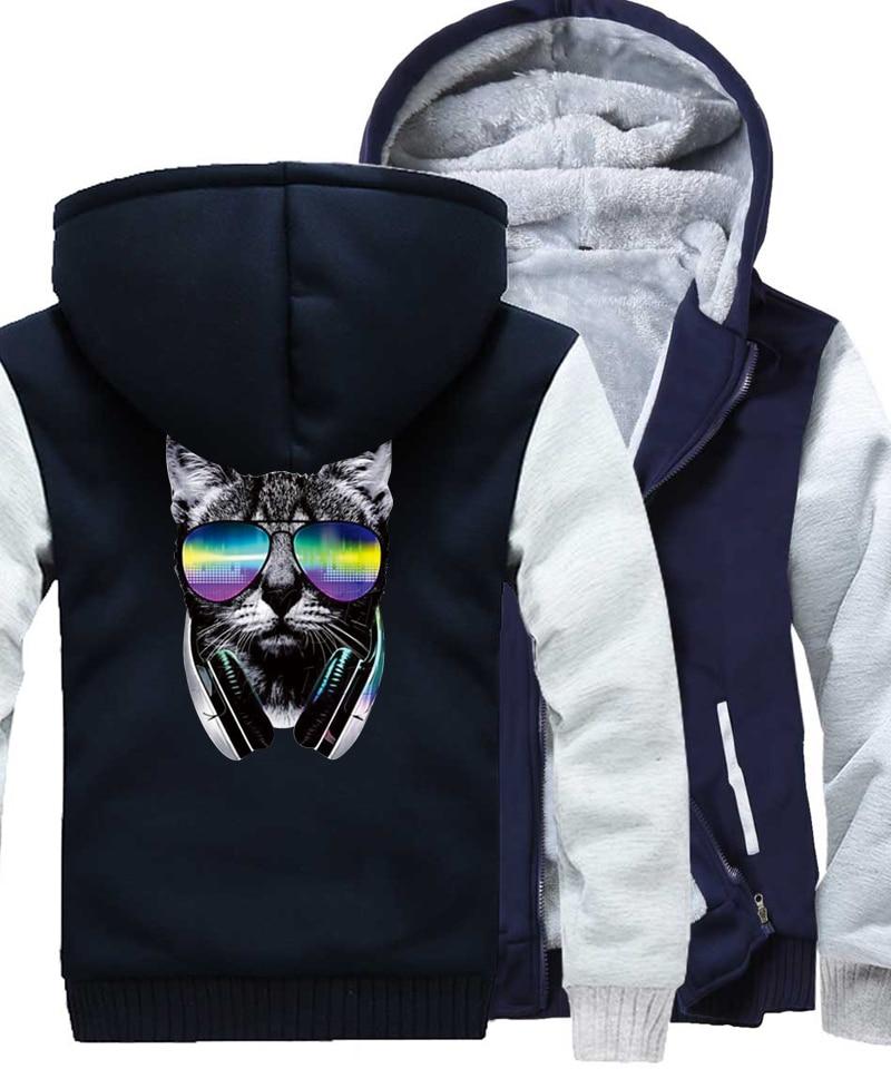 Winter Sweatshirt For Men 2017 New Fashion Fleece Thick Hoodies Male Brand Clothing Print DJ Dog Cool Punk Sweatshirts Kpop Hot