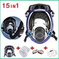 Bijgewerkt Volgelaatsmasker Voor 6800 Gas Masker Full Face Gelaatsstuk Respirateur Voor Schilderen Spuiten met 2 stuks Cartridges