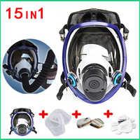Mise à jour masque facial complet pour 6800 masque à gaz masque facial complet respirateur pour peinture pulvérisation avec 2 cartouches pièces