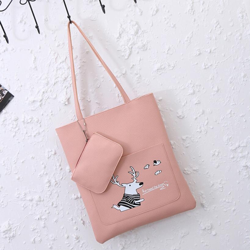 Модные женские Искусственная кожа простой олень печатные буквы сумки на ремне, дамы сплошной цвет молнии Повседневная сумка # F