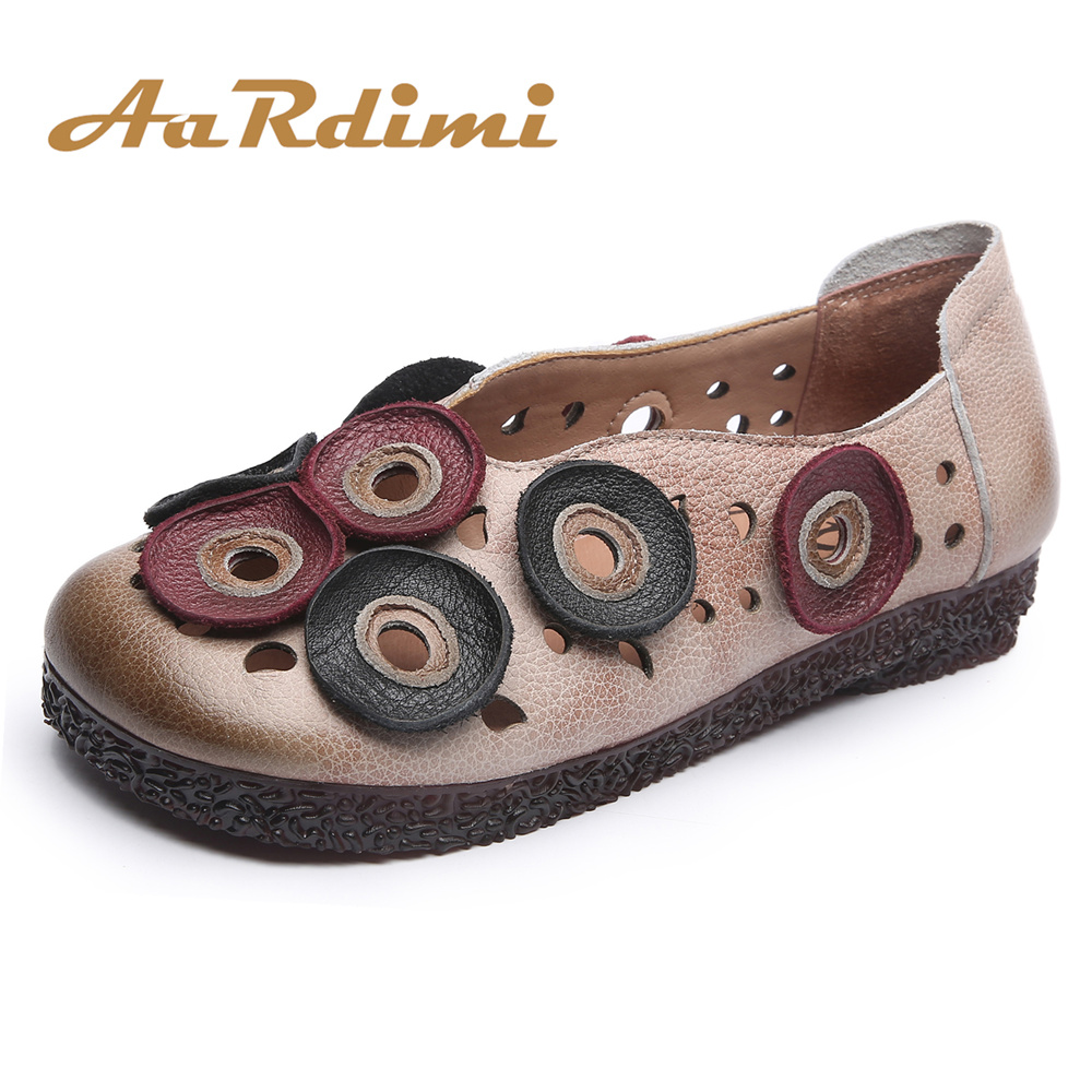AARDIMI Hollow Spring Floral Women Flats Shoes Genuine Leather Casual Flat Shoes Woman Retro Flowers Mother Shoes Zapatos Mujer aardimi 100% cow leather oxford shoes for woman spring