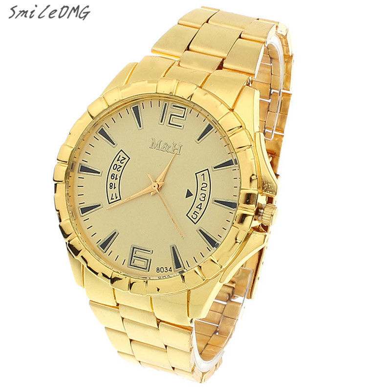 SmileOMG New Stainless Steel Sport Quartz Wrist Gold Bracelet Big Dial Watch Christmas Gift Free Shipping ,Sep 8 smileomg hot sale fashion women crystal stainless steel analog quartz wrist watch bracelet free shipping christmas gift sep 5 page 5