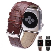 Genuine Leather Watchband for 38mm 42mm iWatch Apple Watch Band Strap Black Brown Wrist Belt Bracelet with Adapters