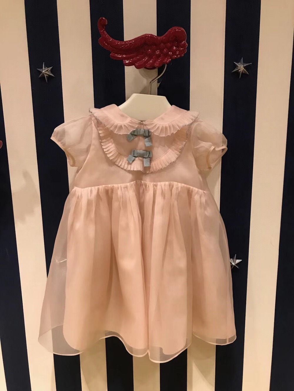 Fairy Dress for 3T Girls Summer Dress baby High Quality Kids Fashion Clothing Bow decoration short sleeve girls dresses