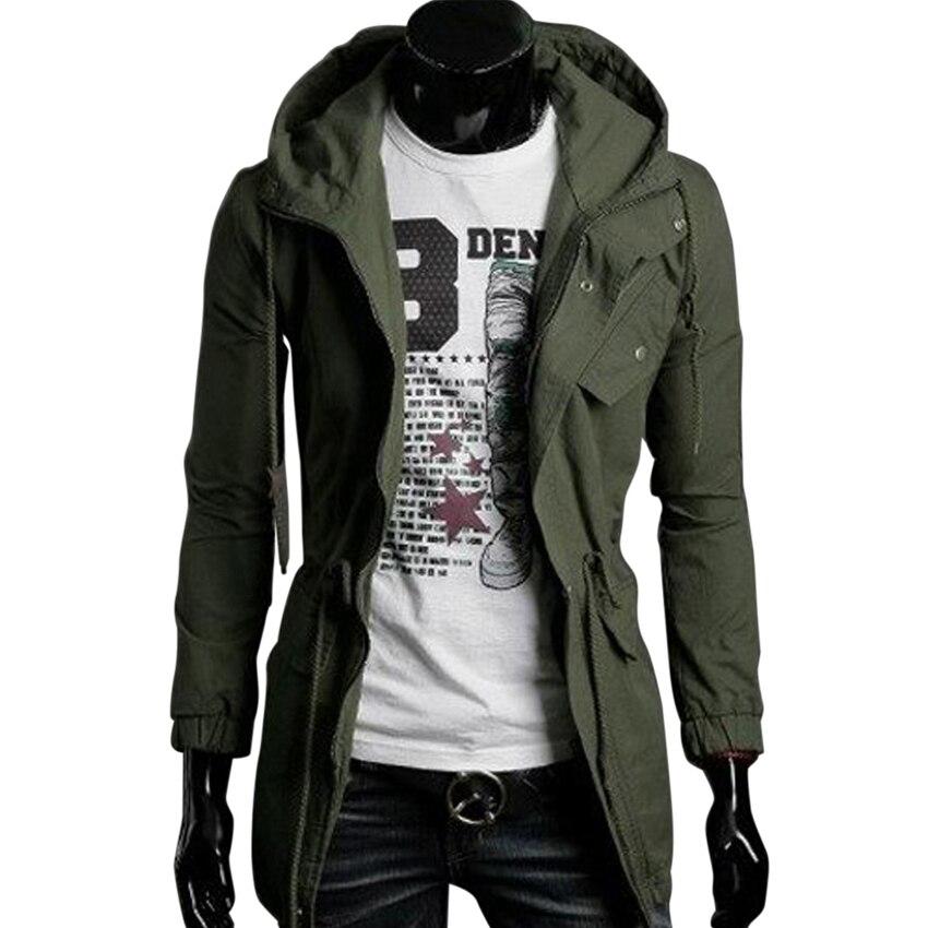 Fashion Brand Zipper Buttons Placket Trench Coat Men Slim Fit Casual Mens Windbreaker Jackets Man Outerwear
