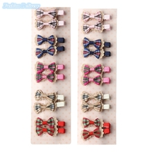 20pcs/lot Cute Kids Little Hair Clip Lace Bow Tie Hairpins Plaid Barrettes Girls Hair Styling Tools Decortions