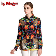 by Megyn 2017 winter women shirts long sleeve leopard print shirt women fashion casual blouses plus size XXXL feminine shirt(China)