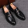 men breathable business wedding formal dress alligator pattern genuine leather shoes black flats oxfords shoe gentleman zapatos