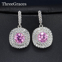 ThreeGraces Lovely Design Micro Pave White Gold Color Hot Pink Cubic Zirconia Round Drop Halo Earrings For Women ER083