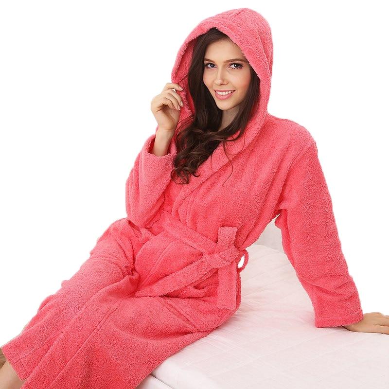 Памучен халат с качулка жени мъже xl нощница за спално облекло момичета одеяло кърпа руно дебели любовници дълги меки зимни бели