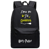 Harry Potter children students backpack laptop school bag canvas letters rucksack crest pattern black