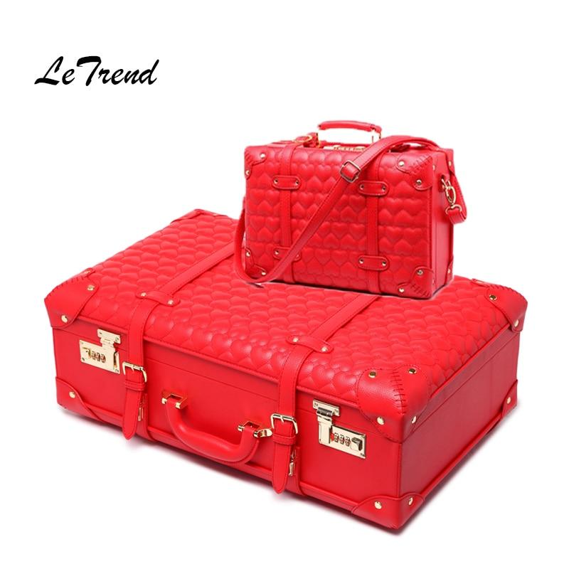 LeTrend Leather Luggage Suitcase Wheels Women's Handbag Vintage Trolley Retro Cabin Travel Bag Password Handbags Shoulder Bags