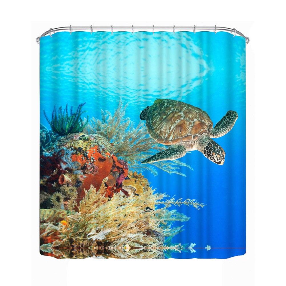 Bathroom Shower Curtain 3D Underwater World Turtle Fabric Polyester Bath  Shade Bathroom Waterproof Shower Curtain 180cm