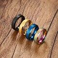 Позолоченные Кольца для Женщин Из Нержавеющей Стали 6 ММ Тупой Женский Кольца 4 Цвета