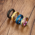 Gold Plated Rings for Women Stainless Steel 6MM Dull Female Rings 4 Colors