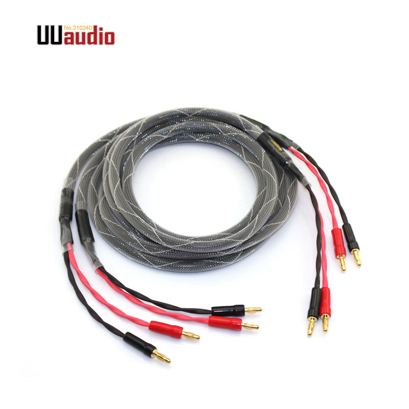 Non-Bi-Wire Conventional Single Cable - for one Speaker 50 Foot Terminations ; Assembled in The USA Blue Jeans Cable Canare 4S11 Speaker Cable with Welded Locking Bananas