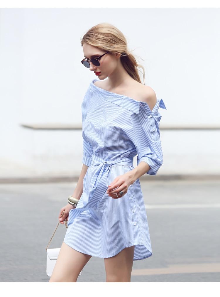 2017Fashion one shoulder Blue striped women shirt dress Sexy side split Elegant half sleeve waistband Casual beach dresses 2