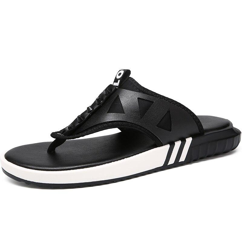 Massage Flip Flops Men Casual Sandals Soft Leather Beach Flip Flops Slippers Summer Flip Flops For Men White Mens Slides Sandals in Flip Flops from Shoes