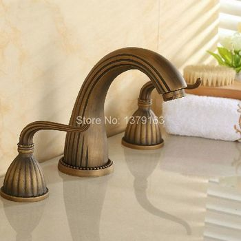Deck Mounted 3 Holes Bath Tub Mixer Tap Vintage Retro Antique Brass Widespread 2 Handles bathroom basin Faucet anf027 high quality chrome brass widespread bathroom basin mixer faucet double handles wall mount