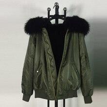 Army green unisex style Zipper black fur inside hooded coats waterproof marerial flight jacket bomber jackets